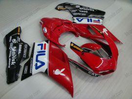 Ducati 848 / 1098 / 1198 2007-2009 Injection ABS verkleidung - FILA - Weiß/Rot/Schwarz