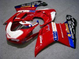 Ducati 848 / 1098 / 1198 2007-2009 Injection ABS verkleidung - INFO STRADA - Weiß/Rot/Schwarz