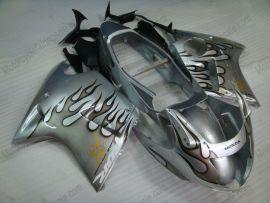 Honda CBR 1100XX BLACKBIRD 1996-2007 Injection ABS verkleidung - Schwarz Flame - Silber