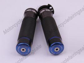 "Motorrad universal 22mm 7/8"" paar Griff bar Griffe Blau Kohlenstoff Stoff Material"