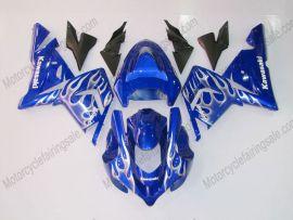 Kawasaki NINJA ZX10R 2003-2005 Injection ABS verkleidung - Weiß Flame - Blau