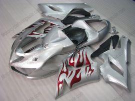 Kawasaki NINJA ZX6R 2005-2006 Injection ABS verkleidung - Rot Flame - Silber