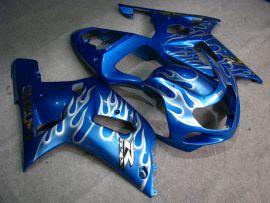 Suzuki GSX-R 1000 2000-2002 K1 K2 Injection ABS verkleidung - Weiß Flame - Blau