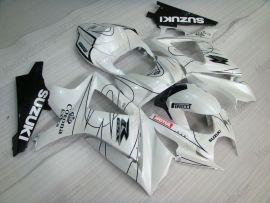 Suzuki GSX-R 1000 2007-2008 K7 Injection ABS verkleidung - Corona - Weiß/Schwarz