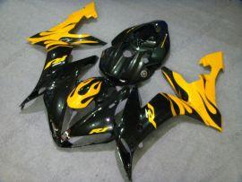 Yamaha YZF-R1 2004-2006 Injection ABS verkleidung - Schwarz Flame - Schwarz/Gelb