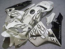 Honda CBR 600RR F5 2005-2006 Injection ABS verkleidung - Schwarz Flame - Weiß