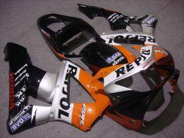 Honda CBR900RR 929 2000-2001 ABS verkleidung - Repsol - Schwarz/Silber/Orange