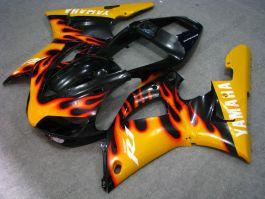 Yamaha YZF-R1 1998-1999 Injection ABS verkleidung - Orange Flame - Schwarz/Orange